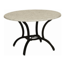 Landgrave - Landgrave Generic 48 Round Stone Cast Tile Top Dining Table - Woodard-Landgrave offers traditional and classical styles in lighter weight durable cast aluminum. Using the highest grade ingots Woodard-Landgrave cast aluminum patio furniture possesses an excellent balance of Resilience and design.  Landgrave's patio furniture collections are generally evocative of classic European designs. With collections inspired by the grandeur of the French Greek and Roman empires Landgrave furniture adds a level of sophistication to your patio. Features include Beautiful and elegant cast aluminum material Extremely durable high quality material cast aluminum is a long term investment into your patio furniture Suitable for any outdoor use Available in various finishes Round slick shape Stone table top.