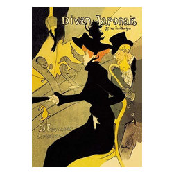 "Buyenlarge.com, Inc. - Divan Japonais - Fine Art Giclee Print 16"" x 24"" - Henri de Toulouse-Lautrec (1864 - 1901) was a French painter, printmaker, draftsman, and illustrator. The period he created his art was known as the Belle poque and his focus was on the decadence in Parisian society. Of all the female entertainers Lautrec celebrated in his posters, Jane Avril and Yvette Guilbert were the two with whom he maintained the longest friendship. He portrayed them both together in one of his most brilliant posters, Divan Japonais Although Guilbert was the performer at this rather shabby cabaret when it opened in the spring of (1893), Lautrec made the half-Italian Avril the local figure in his composition. Under a shock of red-orange hair topped with a pagoda-shaped hat and towering plume, her black, silhouetted figure dominates the frontal plane as she nor her companion, Edouard Dujardin, the distinguished founder of the Symbolist Revue Wagnerienne, deign to look at Guilbert on stage, whom Lautrec portrayed as 'headless', probably as a witty response to her complaint that he caricatured her and made her ugly."