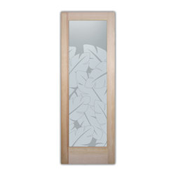 "Bathroom Doors - Glass Bathroom Door Frosted Obscure  Banana Leaves - CUSTOMIZE GLASS BATHROOM DOORS!  Quality frosted glass bathroom door designs YOU Customize to suit YOUR decor!  Obscure glass bathroom doors create obscurity thru art!  Ship for just $99 to most states, $159 to some East coast regions, custom packed and fully insured with a 1-4 day transit time.  Available any size, as bathroom door glass insert only or pre-installed in a door frame, with 8 wood types available.  ETA for obscure decorative glass bathroom doors will vary from 3-8 weeks depending on glass & door type.........Block the view, but brighten the look with a beautiful interior glass door featuring a custom frosted glass design by Sans Soucie!   Select from dozens of sandblast etched obscure glass designs!  Sans Soucie creates their bathroom glass door designs thru sandblasting the glass in different ways which create not only different effects, but different levels in price.  Choose from the highest quality and largest selection of frosted decorative glass interior doors available anywhere!   The ""same design, done different"" - with no limit to design, there's something for every decor, regardless of style.  Inside our fun, easy to use online Glass and Door Designer at sanssoucie.com, you'll get instant pricing on everything as YOU customize your door and the glass, just the way YOU want it, to compliment and coordinate with your decor.  When you're all finished designing, you can place your order right there online!  Glass and doors ship worldwide, custom packed in-house, fully insured via UPS Freight.   Glass is sandblast frosted or etched and bathroom door designs are available in 3 effects:   Solid frost, 2D surface etched or 3D carved. Visit our site to learn more!"