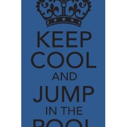 "Keep Cool and Jump in the Pool - This custom vinyl decal was created in Uppercase Living's ""MyDesign Suite"". Post it on your deck or pool house wall. You can design your own and check-out our catalogs: http://jeand.uppercaseliving.net"