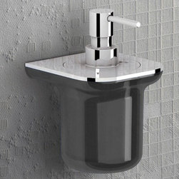 Gedy - Anthracite and Chrome Stylish Wall Mounted Soap Dispenser - Keep your master bath looking modern & contemporary with this quality wall mounted liquid soap dispenser from the Gedy Bijou collection. Easily mounted on your wall, this wall mounted soap pump is made in high quality cromall and thermoplastic resins and a transparent anthracite/chrome finish. Perfect for modern & contemporary-designed bathrooms. Manufactured in and imported from Italy. Liquid soap dispenser for a designer master bath. Quality liquid hand soap dispenser. High quality cromall and thermoplastic resins, finished with transparent anthracite/chrome. Made by Gedy in Italy.