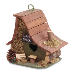 Koolekoo - Love Shack Birdhouse - The heart-shaped door gives it away: This is a little Love Shack! Amusing asymmetrical architecture is trimmed with forest treasures.