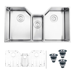 Ruvati - Ruvati RVH8500 Kitchen Sink Triple Bowl - Gravena offers a modern, linear style with square / rectangular bowls. The tight radius corners of the bowls make it easy to clean around the linear edges of Gravena sinks. The rear drain placement ensures dishes don't settle on the drain and prevent water flow while the drain grooves in the basin channel water towards the drain, keeping your sink clean and dry.