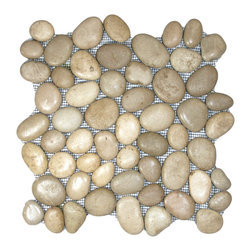 "Pebble Tile Shop - Glazed Java Tan Pebble Tile - Each pebble is carefully selected and hand-sorted according to color, size and shape in order to ensure the highest quality pebble tile available.  The stones are attached to a sturdy mesh backing using non-toxic, environmentally safe glue.  Because of the unique pattern in which our tile is created they fit together seamlessly when installed so you can't tell where one tile ends and the next begins!    Usage:      Shower floor, bathroom floor, general flooring, backsplashes, swimming pools, patios, fireplaces and more.  Interior & exterior. Commercial & residential.    Details:      Sheet Backing: Mesh      Sheet Dimensions: 12\ x 12""      Pebble size: Approx 3/4\"" to 2 1/2\""      Thickness: Approx 1/2\""      Finish: Glazed Tan"""