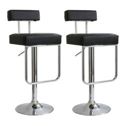 Buffalo Tools - AmeriHome 2 Piece Contemporary Padded Bar Stool Set - Black - 2 Piece Contemporary Padded Bar Stool Set - Black by AmeriHome The AmeriHome 2 Piece Padded Bar Stool Set With Hanging Footrest brings a touch of the casual contemporary to complete any room.  The textured vinyl seat is ideal for kitchen spaces as well as bars, game rooms, and basements.  The sleek polished chrome base with hanging foot rest is unobtrusive and allows for comfortable leg room.  The padded seat is designed for comfort with a 17 inch wide by 16 inch deep seat that swivels 360 degrees and has an adjustable height of 25 to 33.5inches.  All these features create an great bar stool for all ages. Includes 2 black vinyl adjustable height bar stools with padded seats and hanging footrests Adjustable seat height from 25 to 33.5 inches Maximum seat back height of 42 in. 17 in. W x 16 in D padded black vinyl, 360 degree swivel seat 265 lbs. weight capacity