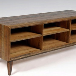 The Hemingway Media Console - Shown in rough sawn oak with a clear ...