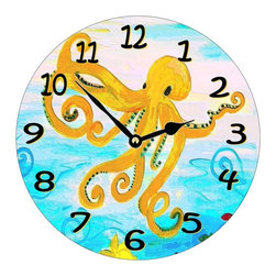 USA - Yellow Octopus Wall Clock - Enjoy passing time with my dye sublimated art work on a beautiful 11.25'' hard board clock with a wonderful glossy finish. Clocks are a durable 1/4 '' thick and require a AA battery not included. Made in the USA.