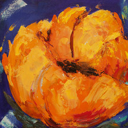 """Golden Poppy Ii"" (Original) By Sharon Sieben - Artwork Is On A Wood Cradle With Sides Painted.  You Can Hang It On Your Wall Now!  No Frame Needed."