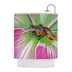 "Kess InHouse - Cathy Rodgers ""Pink and Green"" Flower Shower Curtain - Finally waterproof artwork for the bathroom, otherwise known as our limited edition Kess InHouse shower curtain. This shower curtain is so artistic and inventive, you'd better get used to dropping the soap. We're so lucky to have so many wonderful artists that you'll probably want to order more than one and switch them every season. You're sure to impress your guests with your bathroom gallery in addition to your loveable shower singing."