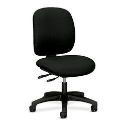 Hon - ComforTask Mid-Back Task Chair - You better work (better). This comfortable, adjustable chair takes your work to task, with fabric covered seat and back cushions and a sturdy, five-wheeled base.