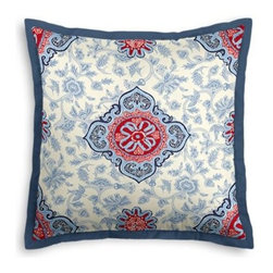 Blue & Red Ribbon-Embellished Medallion Custom Euro Sham - Popped collars, statement necklaces, crisply ironed pants  it's the little details that complete a perfectly tailored look. And the sharp contemporary edging of the Tailored Euro Sham will do just that for your bed.  We love it in this intricate sky blue and ruby red ribbon-embellished medallion. It's tradition with a twist.