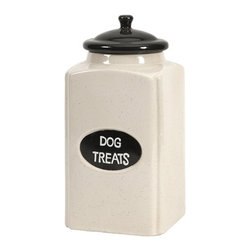"IMAX - Dog Large Ceramic Canister with Metal Plaque - This cream finished ceramic canister is a great place to store dog treats for your canine friends! Item Dimensions: (11""h x 5.25""w x 5.25"")"