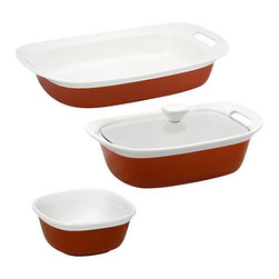 Corning Ware - CorningWare Etch 4 piece set in Brick - Store your food with this durable and stylish red and white set from CorningWare. A ceramic construction and lids finish this four-piece set.