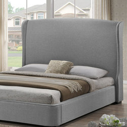 Baxton Studio - Gray Linen Sheila Upholstered Bed - With a lovely, luxuriously upholstered headboard and a sturdy rubberwood frame, this plush and contemporary sanctuary is the perfect place to rest after a long day.   Includes headboard, footboard, two side rails and slat kit Bedding and mattress not included Available in multiple sizes Rubberwood / linen / foam Assembly required Imported