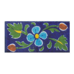 "Knobco - Tiles 2x4"", Yellow & Turquoise Flower & Green leaf w/ Blue Base - Yellow and Turquoise Flower and Green leaf with Blue Base Tiles from Jaipur, India. Unique, hand painted tiles for your kitchen or other tiling project. Tile is 2x4"" in size."
