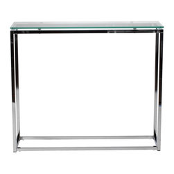 Euro Style - Euro Style Sandor Console Table X-33082 - The proportions of these three tables (coffee, side and console) are iconic to say the least.  Tops in clear or pure white glass float on perfectly geometric chrome steel bases.  We're talking Museum of Modern art here.  Not really.  But it's the right thing to do.