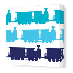 "Avalisa - Things That Go - Trains Stretched Wall Art, 12"" x 12"", Blue Hue -"