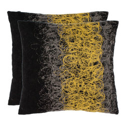 Safavieh Home Furniture - Simon 18-Inch Yellow/Onyx Decorative Pillows, Set of 2 - -With a fresh, contemporary eye-catching pattern, this decorative pillow is a lovely addition to any decor. This throw pillow features a modern print design with a hand-woven polyester cover. This throw pillow cover features black, yellow and grey.  - Please note this item has a 30-day manufacturer's limited warranty that covers product defects. Inspect your purchase upon delivery and notify us immediately with any concerns. Safavieh Home Furniture - PIL848A-1818-SET2