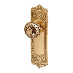 Renovators Supply - Door Knobs Bright Brass 2 3/8 '' Backset Door Knob Privacy Set - This Privacy set includes everything you need for both sides of one door.  Brass Star knob with Florentine backplates. Has 2 3/8 in. backset.