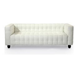 Kardiel - Kardiel Josef Kubus Style Mid-century Modern Sofa 3 Seat, Arctic White Anilne Pr - Titled the forerunner of the modernist movement, this high quality reproduction of the Josef Hoffmann Kubus Sofa features a handcrafted hardwood frame graciously lined with polyurethane foam. The surface is luxuriously soft to the touch, compliments of its premium 100% Top-Grain Aniline leather upholstery. This premium reproduction is generously proportioned to original full-scale size and cube count. Precision stitched & aniline leather piped tactile cubes create a thick body of cushioning that is so comfortable you'll understand why this sofa has been a modern classic for nearly a century. For those looking for historic significance in midcentury modern furnishings, the Hoffman Kubus is a certain candidate.