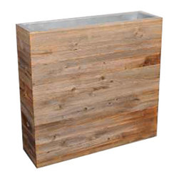 Schlittler - Rectangular Planter - Made of reclaimed wood with a metal lining, this planter is suitable for indoor use only.