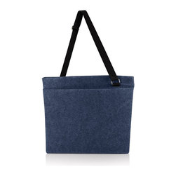 Picnic time - Travel Tote- MODE Navy - Napped polyester felt tote with adjustable shoulder strap, large exterior pocket and zippered closure. 19.8 x 1 x 16.5 laying flat.