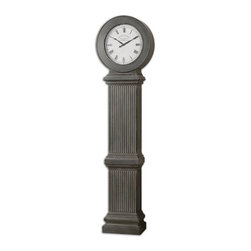 Steve Kowalski - Steve Kowalski Chouteau Traditional Floor Clock X-68060 - This Stately Floor Clock Features An Antiqued, Dusty Gray Finish With Burnished Edges. Quartz Movement. Coordinates With Mantel Clock #06088.