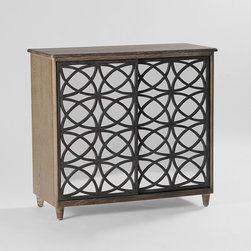 Katelyn Cabinet by Gabby - Both chic and functional, the Katelyn Cabinet features a limed oak finish and sliding doors. An intricate overlapping circle pattern backed by antique mirror creates a captivating detail. Transitional styling and functional design make the Katelyn cabinet a great media friendly cabinet for your home