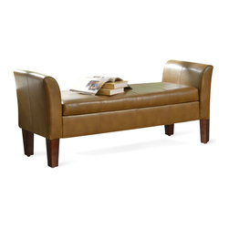 Kinfine - Camel End of Bed Bench with Storage - Update your home decor with this lovely rich camel storage bench.Perfect for a bedroom or living area, this multi-functional bench is ideal for extra seating.The double stitching design gives a soft feeling that will complete your room.