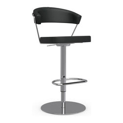 """Calligaris - New York Swiveling Barstool - Chrome Base, Adjustable height; Seat height 26"""" - 31.5"""". , 22.5""""W x 21""""D x 38"""" Height - 43"""" H. , Swiveling base."""