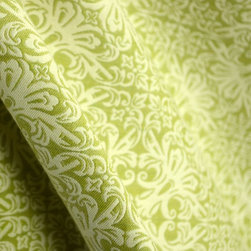 Valhalabay Moss Green Durable Damask Upholstery Fabric By The Yard - Valhalabay in the color Moss is a great upholstery weight fabric. This cotton, poly blend makes this fabric very durable. Also great for bedding and pillows.