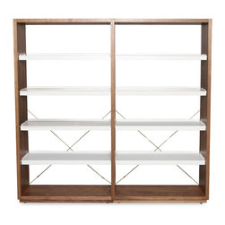 Blu Dot - Blu Dot D3 Add-on Unit, Walnut / White - Endless shelving possibilities. The D3 starter unit comes with four adjustable steel shelves in your choice of white or grey. Brass details and leveling feet keep things classy and pragmatic. Pair with the Add-On unit to expand your storage options. Available in walnut or white painted ash with white or grey shelves. Walnut or ash veneer over engineered substrate, Solid brass, Powder-coated steel shelves