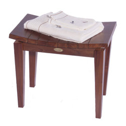 """DecoTeak - Sojourn Contemporary Teak Asia Shower Bench - Made from plantation grown sustainably harvested solid teak that is naturally water, and mildew resistant.. Asian style. Extended seating surface in width and length. Standard leg levelers for uneven floors and slopes. LiftAide arms for ease of sitting and standing. Galvanized stainless steel corrosion resistant hardware. Indoor outdoor deep penetrating stain for water, mold, mildew, fungus, and sunlight resistance.. 30 day satisfaction guaranteeUse in the shower, bathroom, or outdoors. Stain:  Deco Teak deep penetrating indoor outdoor golden brown. Assembly Required. Length:  20"""" x Height:  18"""" x Width:  13.65""""  Maximum Seat Height:  21"""". Product Weight: 18 lbs."""
