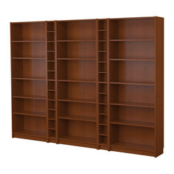 IKEA of Sweden/Gillis Lundgren - Billy Bookcase Combination, Medium Brown - I like the wood tones this Ikea bookcase would add. And you can't beat the price! I especially like the little nooks in between the three sets of longer shelves.