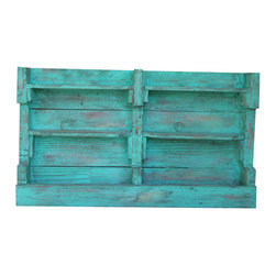 Aqua Distressed Wall Shelf - This beautiful Wall Shelf can be screwed into the wall and measures 36L x 5W x 20H. It has been completed with an Aqua Color Pop Distressed finish and completed with an all over ebony glaze to give your product a warm rustic look.