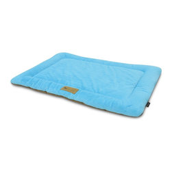 P.L.A.Y. - P.L.A.Y. Chill Pad Sea Foam X Small - The P.L.A.Y. chill pad is a light and an extremely long lasting pad for your dog to sleep and rest on. The pad can be conveniently thrown at any spot in your home and being filled with an eco-friendly fiber, the pad is very safe for the environment, not to mention your dog. This chill pad is made keeping in mind the highest quality standards and it can be machine washed whenever needed.  Designed to fit most standard pet crates. Tough, durable construction ensures dog-years of use. Filled with the perfect amount and density of high-loft PlanetFill filler.  filler is made from 100% post-consumer certified-safe recycled plastic bottles. 4 edges ensure optimum elevated comfort for your pooch to rest its head on. Machine washable and dryer friendly. Made in a facility that meets the strict quality standards for infant and children products. Momo-approved and tested by her four-legged friends.