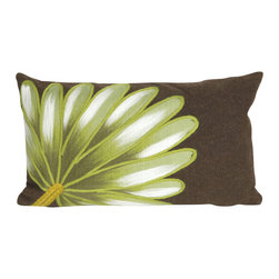 "Trans-Ocean Inc - Palm Fan Chocolate 12"" x 20"" Indoor Outdoor Pillow - The highly detailed painterly effect is achieved by Liora Mannes patented Lamontage process which combines hand crafted art with cutting edge technology. These pillows are made with 100% polyester microfiber for an extra soft hand, and a 100% Polyester Insert. Liora Manne's pillows are suitable for Indoors or Outdoors, are antimicrobial, have a removable cover with a zipper closure for easy-care, and are handwashable.; Material: 100% Polyester; Primary Color: Brown;  Secondary Colors: green, white; Pattern: Palm Fan; Dimensions: 20 inches length x 12 inches width; Construction: Hand Made; Care Instructions: Hand wash with mild detergent. Air dry flat. Do not use a hard bristle brush."