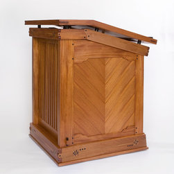 Church Podium - Designed and built for a very special house, this lecturn (called an Ambo) is made from mahogany, ebony, birds eye maple and olive wood.  Featuring several types of arts & crafts era joinery and a chevron veneer at the sides.
