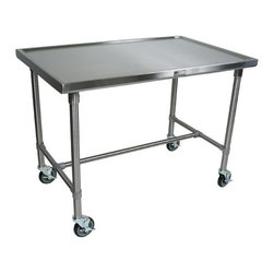 "John Boos - Cucina Americana Mariner Prep Table with Stainless Steel Top - Features: -Cucina Americana collection. -Food service grade stainless steel top with marine edge on four sides. -Stainless steel legs and center bracing. -5"" Locking casters. -One-year warranty against defect in workmanship and materials. -Made in the USA. Dimensions: -35.5"" H x 48"" W x 24"" D: 58 lbs - 71 lbs. -35.5"" H x 48"" W x 30"" D: 64 lbs - 70 lbs. -40"" H x 48"" W x 24"" D: 60 lbs. -40"" H x 48"" W x 30"" D: 68 lbs."