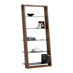 BDI - BDI Eileen Shelf, Walnut - The Eileen Shelf by BDI is has an elegant silhouette with slim tinted glass shelves framed by a rectangle wood structure. Line your wall with multiple shelves and it will give the graceful illusion that your keepsakes are floating. Choose between 4 wood finishes.