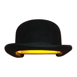 """Innermost - Jeeves Hat Wall Lamp by Jake Phipps for Innermost - The Jeeves Hat Wall lamp was designed as a playful take on lighting with a real sense of cultural identity. The hat is an object that often associates its wearer with a particular society, heritage or race. The bowler hat is a classic British cultural icon reflecting a bygone era of imperialism, class divide, and eccentricity. Aptly named after the British comedy series """"�Jeeves and Wooster"""" by P.G. Wodehouse."""