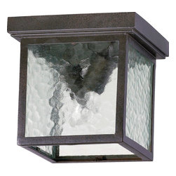 Joshua Marshal - Two Light Oiled Bronze Cleared Hammered Glass Outdoor Flush Mount - Two Light Oiled Bronze Cleared Hammered Glass Outdoor Flush Mount