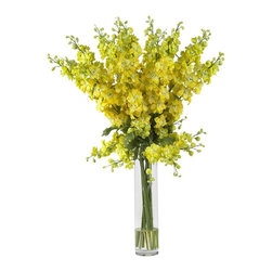 "Nearly Natural - Delphinium Silk Flower Arrangement - You will think of spring all year-round. A beautifully whimsical arrangement. A virtual explosion of floral color. Construction Material: Polyester material, Iron wire, Glass, Resin. 24 in. W x 24 in. D x 38 in. H ( 7 lbs. ). Pot Size: 4 in. W x 18 in.HSpring has definitely sprung. you'll be thinking that year-round when you gaze upon the whimsical beauty of this lovely Delphinium arrangement. Countless stems rise out of the beautiful vase, culminating in an explosion of floral color that looks even better in person than it does in this picture. The perfect ""brighten me up"" adornment for any room, this silk flower arrangement also makes a perfect gift for that sunny person in your life."