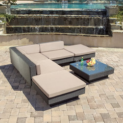 Christopher Knight Home - Christopher Knight Home Santorini Outdoor Six Piece Black Wicker Sofa Set - Never again stress about having your guests sit comfortably outside. With this large outdoor sofa set,you will always have plenty of comfy seats for your friends and family to lounge and relax.