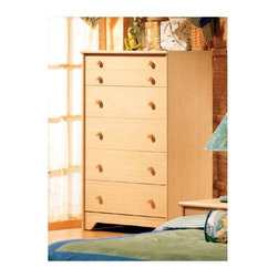 South Shore - Five Drawer Nutrina Natural Maple Chest w Sin - Create height and symmetry in a room with the Nutrina chest. Five drawers operate on ultra-smooth Sintec glides. Three sets of knob pulls allow for a change of color ��� natural, white, and blue. A well-crafted case will transition through any age and change in decorating taste. Strong, durable and sturdy, this chest will last for years to come. * Manufactured from eco-friendly, EPP-compliant laminated particle boardcarrying the Forest Stewardship Council (FSC) certification. 5 drawer chest unit. Ships with 3 sets of knobs: natural, white and blue. Sintec drawer glides. Constructed of particleboard with a laminate finish. Assembly required. 5-year manufacturer's limited warranty. 45 H x 30 W x 17 D in.