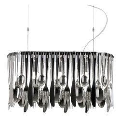 Fabbian - Hungry Suspension by Fabbian - The Fabbian Hungry Suspension satisfies even the largest craving for distinctive modern lighting. Designed by Ali Siahvoshi, it features stainless steel forks, butter knives, tablespoons and teaspoons arranged to form a single drape around a rectangular metal frame. Their distinctive shimmer is enhanced by a Polished Chromium-Plated finish.In 1961, Fabbian was established in Treviso, Italy, to create quality modern lighting for homes and businesses. Since then, their embrace of advanced manufacturing technology, high production standards and, especially, the innovative designs of a large international team of designers have garnered Fabbian worldwide recognition.The Fabbian Hungry Suspension is available with the following:Details:Stainless steel fork, knife and spoon shadeMetal framePolished Chromium-Plated finishSquare ceiling canopy2 adjustable suspension cables with ceiling supportsUL ListedDesigned by Ali SiahvoshiPlease Note:All of the utensils that make up the Hungry shade are removable, allowing for custom configurations and ease of cleaning.Lighting: Three 40 Watt 120 Volt Type E12 Candelabra Base Incandescent lamps (not included).Shipping:This item usually ships within 5-7 days.