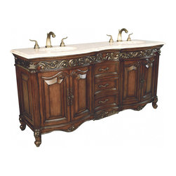 Ambella Home - Provincial Double Sink Chest - Dark - Antiqued parchment finish, fluted front corners, aged silver highlights and an Ivory Cream marble top. Balsa porcelain sink installed.   Imported.