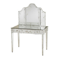 Currey & Company - Gilda Vanity Mirror - A vanity mirror enhanced with antique mirrored accents. Pairs perfectly with the Gilda Vanity.