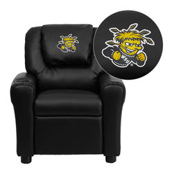 """Flash Furniture - Wichita State University Shockers Black Leather Kids Recliner with Cup Holder an - Get young kids in the college spirit with this embroidered college recliner. Kids will now be able to enjoy the comfort that adults experience with a comfortable recliner that was made just for them! This chair features a strong wood frame with soft foam and then enveloped in durable leather upholstery for your active child. This petite sized recliner is highlighted with a cup holder in the arm to rest their drink during their favorite show or while reading a book. Wichita State University Embroidered Kids Recliner; Embroidered Applique on Oversized Headrest; Overstuffed Padding for Comfort; Easy to Clean Upholstery with Damp Cloth; Cup Holder in armrest; Solid Hardwood Frame; Raised Black Plastic Feet; Intended use for Children Ages 3-9; 90 lb. Weight Limit; CA117 Fire Retardant Foam; Black LeatherSoft Upholstery; LeatherSoft is leather and polyurethane for added Softness and Durability; Safety Feature: Will not recline unless child is in seated position and pulls ottoman 1"""" out and then reclines; Safety Feature: Will not recline unless child is in seated position and pulls ottoman 1"""" out and then reclines; Overall dimensions: 24""""W x 21.5"""" - 36.5""""D x 27""""H"""