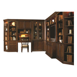 "Hooker Furniture - Cherry Creek Wall Storage Cabinet - 22 in. - White glove, in-home delivery included!  Includes furniture assembly!  22 in. Wall Storage Cabinet only. (Shown with Cherry Creek modular wall system.)  The Cherry Creek modular wall system allows you to design the function you need at a price much more affordable than custom built systems.  Three adjustable wood-framed glass shelves, one stationary shelf, two locking file drawers on metal ball bearing guides with Pendaflex letter/legal file system, one light controlled by three-intensity touch switch, levelers, stained top.  Drawers (2): 16"" w x 12"" d x 9 5/16"" h   Top Opening (inside end panels): 20 1/2"" w x 14 1/8"" d x 51 5/8"" h  Top Opening (inside pilasters): 18"" w x 14 1/8"" d x 51 5/8"" h"